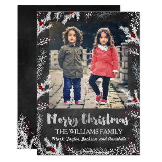Cartão de Natal dos ramos da baga do inverno do
