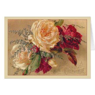 Cartão de Natal dos rosas do Victorian