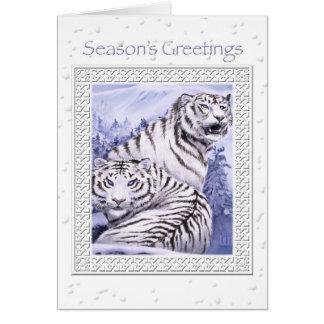 Cartão de Natal dos tigres do gelo