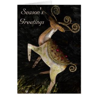 Cartão de Natal dourado da rena