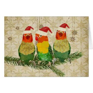 Cartão de Natal dourado de três pássaros