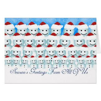 Cartão de Natal dtodos nós, bonecos de neve