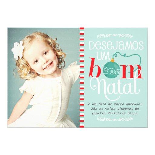 Cartão de Natal e Ano Novo Personalizado com Foto Custom Invitations