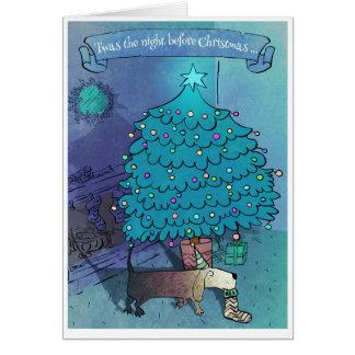 Cartão de Natal engraçado bonito poético