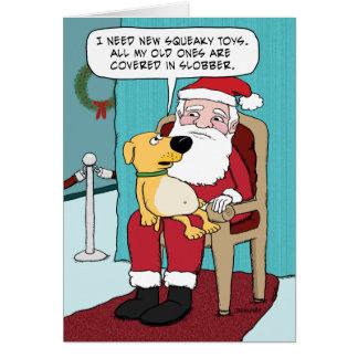 Cartão de Natal engraçado: Cão e papai noel