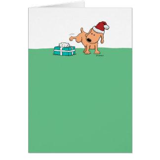 Cartão de Natal engraçado: Cão fazendo xixi