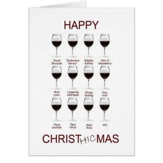 Cartão de Natal engraçado da degustação de vinhos