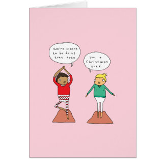Cartão de Natal engraçado da ioga da pose | da