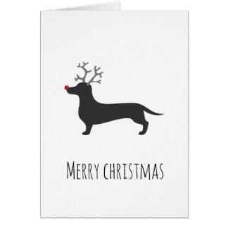 Cartão de Natal engraçado da rena do Dachshund