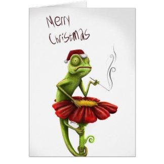 Cartão de Natal engraçado do camaleão