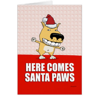 Cartão de Natal engraçado do cão das patas do