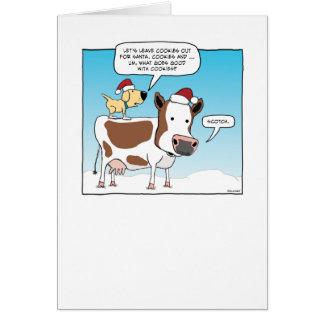Cartão de Natal engraçado do cão e da vaca