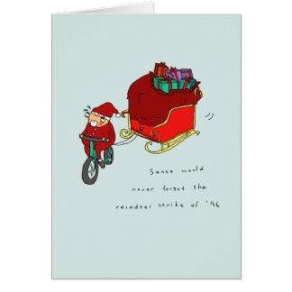 Cartão de Natal engraçado do ciclismo da greve |