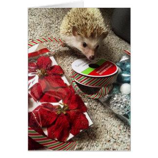 Cartão de Natal engraçado do ouriço do feriado