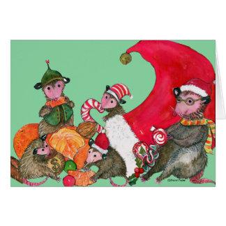 Cartão de Natal engraçado dos gambás,