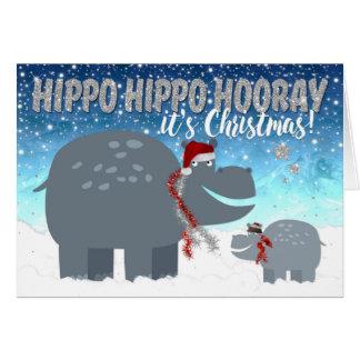 Cartão de Natal engraçado - hipopótamos felizes
