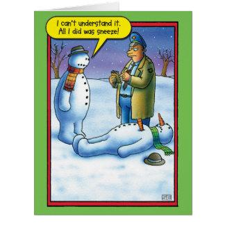 Cartão de Natal enorme do Sneeze do boneco de neve