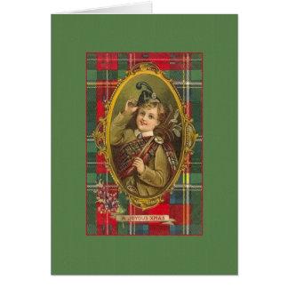 Cartão de Natal escocês dos Bagpipes do Victorian