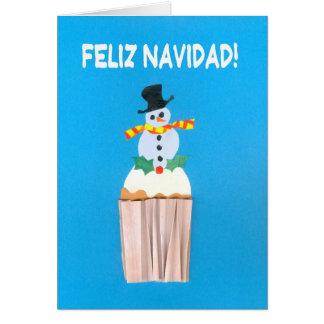 Cartão de Natal, espanhol, cupcake com boneco de