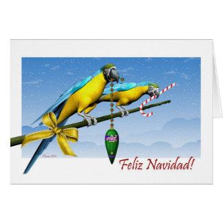 Cartão de Natal espanhol do papagaio do Macaw de
