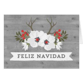 Cartão de Natal espanhol dos Antlers de madeira