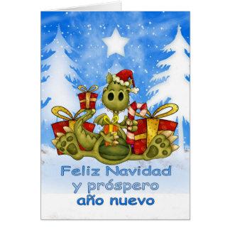 Cartão de Natal espanhol - dragão bonito - Feliz N