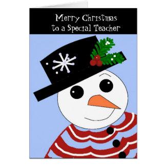 Cartão de Natal especial do professor do boneco de