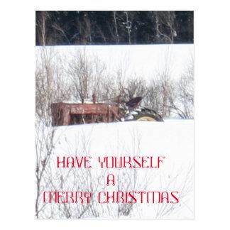 Cartão de Natal esquecido do trator