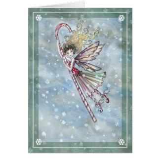 Cartão de Natal feericamente doce do bastão de