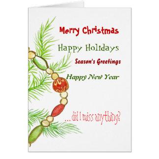Cartão de Natal feliz alegre