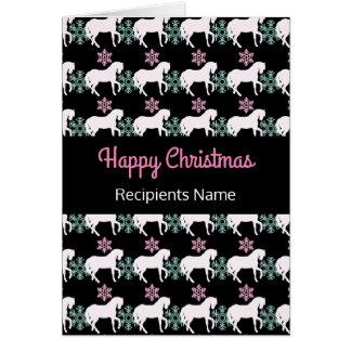Cartão de Natal feliz do floco de neve do cavalo