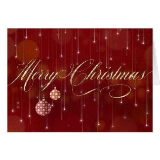 Cartão de Natal - Feliz Natal e luzes da corda