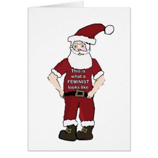 Cartão de Natal feminista do papai noel