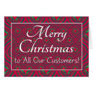Cartão de Natal festivo, aos clientes, vermelho,
