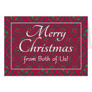 Cartão de Natal festivo, de ambos nós vermelho,