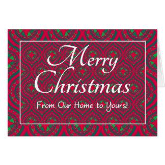 Cartão de Natal festivo nossa casa a seu verde