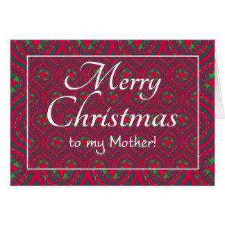 Cartão de Natal festivo, para a mãe, verde
