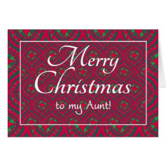 Cartão de Natal festivo, para a tia, vermelho,