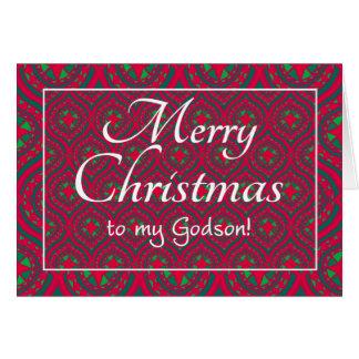Cartão de Natal festivo para o Godson, vermelho,