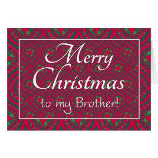 Cartão de Natal festivo, para o irmão, vermelho,