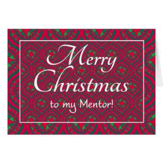 Cartão de Natal festivo, para o mentor, verde