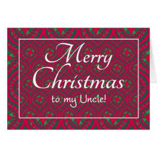 Cartão de Natal festivo para o tio Vermelho Verde