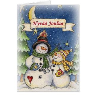 Cartão de Natal finlandês de Hyvää Joulua do