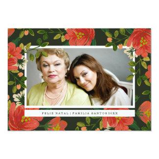 Cartão de Natal Floral Convite 12.7 X 17.78cm