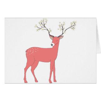 Cartão de Natal floral dos cervos,