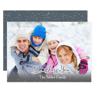 Cartão de Natal - foto de família - deus abençoe