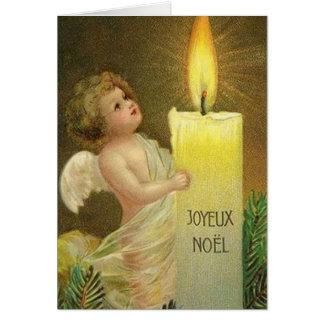 Cartão de Natal francês de Joyeux Noel do anjo do