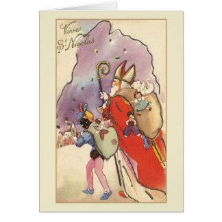 Cartão de Natal francês retro do St. Nicolas de