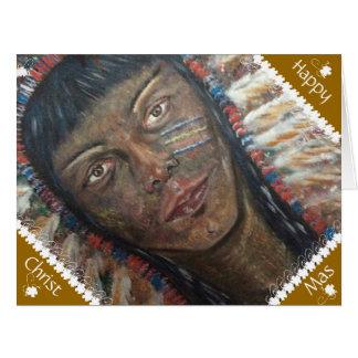 Cartão de Natal grande: Indiano do nativo