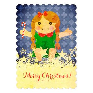Cartão de Natal handmade Sewing da boneca da